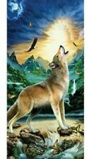 """Wolf Howling 30"""" X 60"""" Velour Towel"""
