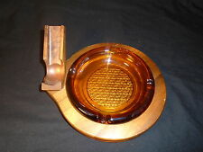 Vintage Pipe Cigar Ashtray Walnut Wood Smoke Stand Rest Amber Glass Insert Tray