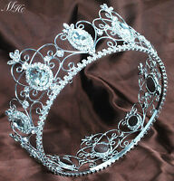 """King Queen Crown 3.5"""" Full Large Tiara Clear Crystal Wedding Pageant Party Prom"""