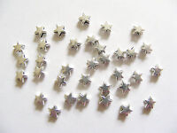 50 Metal Antique Silver Star Shape Spacer Beads - 6mm