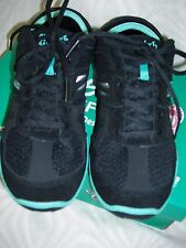 "7M  ""CHEEKS by TONY LITTLE"" BLACK/TEAL BAREFOOT TRAINER SNEAKERS~DISPLAY ITEM"