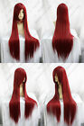 New Long Dark Red Cosplay Party Straight Wig 100cm