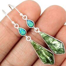 Russian Seraphinite 925 Sterling Silver Earrings Jewelry SE129437