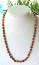 VINTAGE RED CLOISONNE NECKLACE WITH SILVERTONE SPACERS 24""
