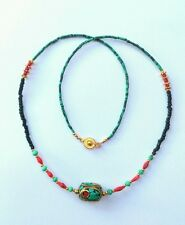 Afghan Natural Malachite Turquoise, Coral Nepal Pendant Tiny Seed Beads Necklace
