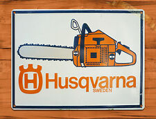 "TIN-UPS TIN SIGN ""Husqvarna Orange Chain Saws"" Vintage Rustic Wall Decor"