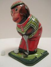 Old Tin W Up Toy Part Golfing Bear w Club & 2 Golf Balls TPS Japan 1950s Works!