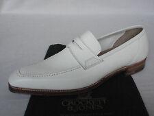 Crockett  Jones SALCOMBE White Grain Calf Leather Penny Loafer Shoes UK 7 E RARE