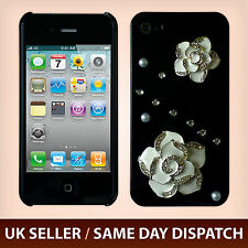 iPhone 4S 4 Luxury Bling 3D Rose Flower Rhinestone Diamond Case Cover White