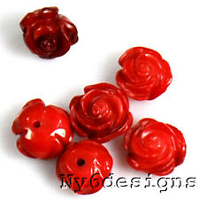 Hand Carved Red Coral Rose Pendant Beads 6pcs (CO111)a