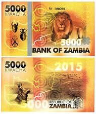 2015 Zambia 5000 Kwacha Lion Commemorative One Note Uncirculated