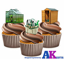 Green House Shed Allotment Birthday Party 12 Cup Cake Toppers Edible Decorations