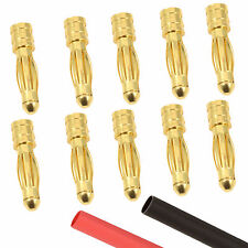 10 x RC 4mm Male Gold Bullet Connector + Heat Shrink Lipo Battery ESC Motor