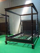 STOCK Black four poster canopy bed made from oak wood Gothic style not tudor