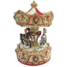 Carillon giostra cavalli rosso con angeli (regalo,musica,vintage)