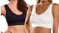 2 Pack Genie Bra Lace UK Dress Size 16 Seamless Comfort Support Black White Twin