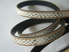 1 Meter High Quality 10mm Flat Faux Snake Skin PU Leather Cord With Gold Chain