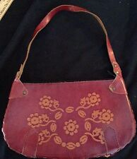 "Vtg Tooled Stamped Leather Purse Red Hippie Boho Grunge Style 10 By 6"" Cool"