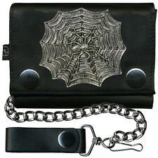 Spider on Web Metal Badge Leather Wallet