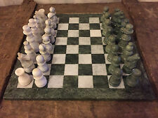 "ALABASTER ITALIAN MARBLE CHESS SET GREEN/WHITE 14"" BOARD"