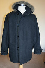mens Stunning REEFER WOOL fur hooded quilted coat 3/4 jacket size L
