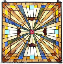"24"" SPARKLING JEWELED STAINED GLASS WINDOW PANEL W/ FLARE MISSION COLLECTION"