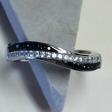 Cluster Black Sapphire White Sapphire 925 Solid Sterling Silver Band Ring sz 7