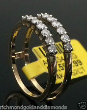 0.50 1/2 Round Diamond Ring Guard Wrap solitaire enhancer 14k Yellow Gold Jacket