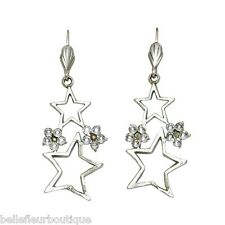 Anne Koplik Star Cluster Leverback Earrings Swarovski Crystals *Made in USA*