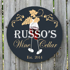 Personalized ELEGANT WINE CELLAR BAR Round metal sign