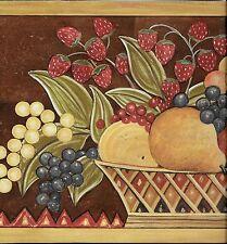 Country Folkart Fruit on Brown WALLPAPER BORDER