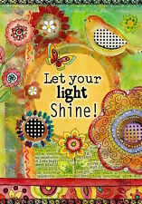 "Let Your Light Shine Spring House Flag Inspirational Floral Birds 28"" x 40"""