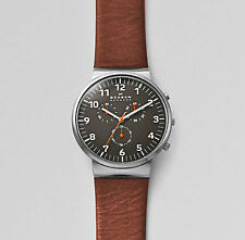 Skagen Ancher Chronograph Grey Dial Brown Leather Mens Watch SKW6099-R6