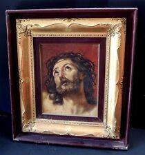 Antique Italian Oil on Canvas Portrait of Jesus Signed by Remo Bonavenia Framed