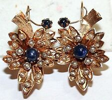 ANTIQUE VICTORIAN FRENCH 18K GOLD SAPPHIRE PEARL GRAPE MAPLE LEAF EARRINGS c1880