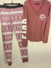VICTORIA SECRET PINK THERMAL HENLEY SHIRT & THERMAL SLEEP LEGGING PJ'S BEGONIA