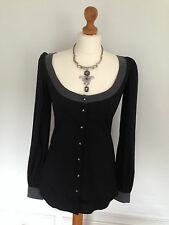 AGLINI Ladies black shirt / blouse MEDIUM - NEW WITH TAGS