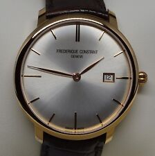 Frederique Constant Mens FC306V4S9 Slim Line 18K Rose Gold Swiss Automatic Watch