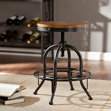 Vintage Kitchen Counter Bar Stool Industrial Metal Wood Top Adjustable Ht Swivel