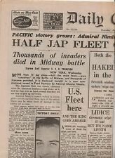 """BATTLE OF MIDWAY - LIDICE - KEYNES  - """"DAILY EXPRESS"""" (1942)(facsimile issue)"""
