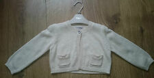 Cute NEXT Girls Sparkly Cream Gold Short Cropped Cardigan 12-18 Months Brand New