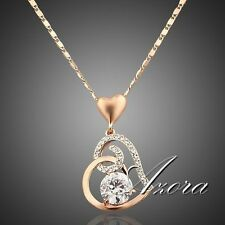 Fashion Love Heart Chain Pendant 18K Rose Gold Plated Swarovski Crystal Necklace