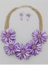 MULTI PURPLE FLOWER GOLD TONE MULTI LINK GOLD TONE CHUNKY NECKLACE EARRING SET