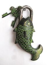 Nepalese Tibetan Handmade Antique Finish Brass Fish Door Lock - From Nepal 100L