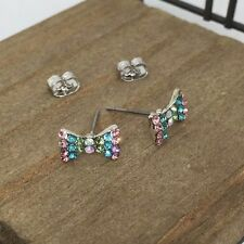 Multi Color Ribbon Crystal Titanium Stud Earrings US Seller Made in Korea