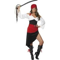 Womens Sassy Pirate Wench Costume Fancy Dress Caribbean Outfit Sexy Fun Ladies