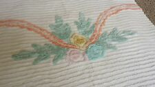 "Vintage Cotton Chenille Peach Green Yellow White Bedspread Queen 101"" x 89"""