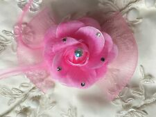 Small Rose Pink Mesh Flower Fascinator Hair Clip Wedding Accessories