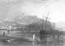 NORTH YORKSHIRE SCARBOROUGH CASTLE SHIP BOAT SEA COAT ~ 1875 Art Print Engraving