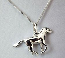 Solid Sterling Silver 925 Galloping Horse Pendant 16 or 18 Inch Chain Necklace